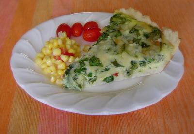 spinach quiche, corn relish & cherry tomatoes